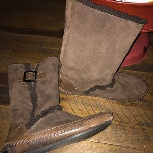 Tory Burch suede shearling boots